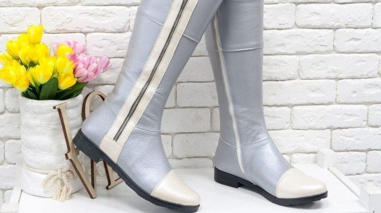 Зимняя обувь, высокие сапоги, светлые сапоги