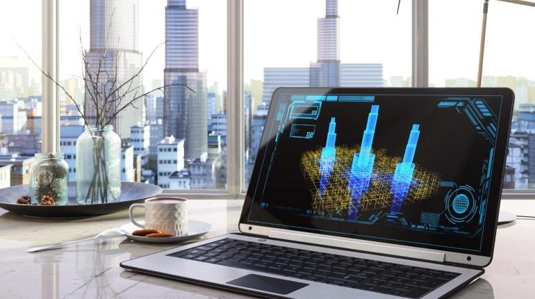Вид из офисного окна, компьютер