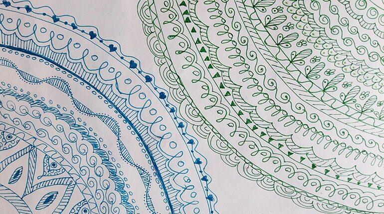 узоры на бумаге, техника рисования зендудл