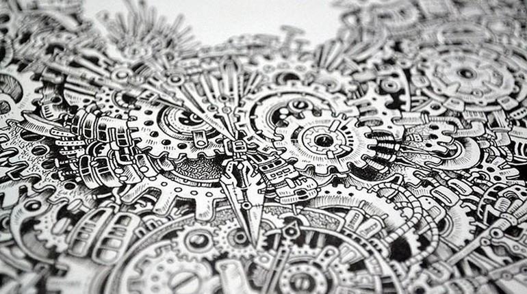 узор выполненный на бумаге, черно-белый узор