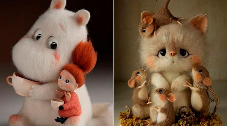 игрушки своими руками, котик и бегемотик из фетра, валянные игрушки