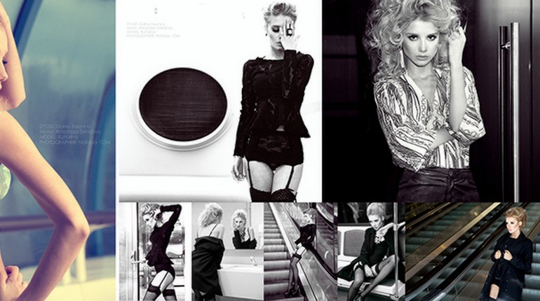 девушка и фото, черно-белая фотография