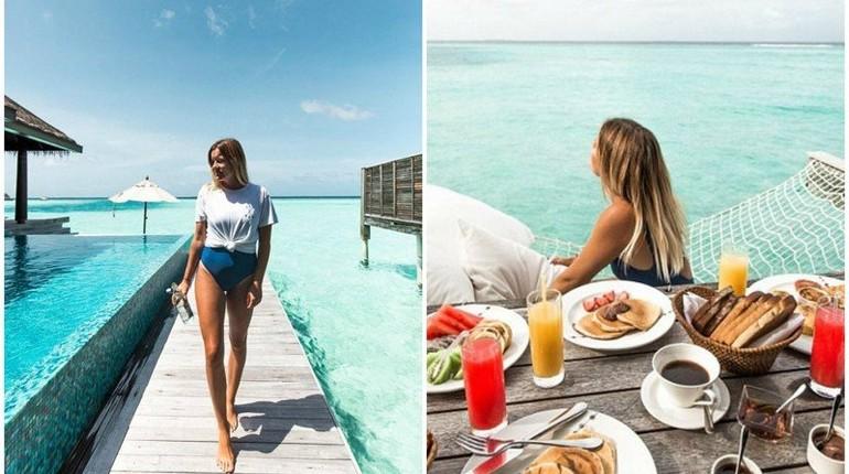 девушка на морском курорте, завтрак на берегу моря