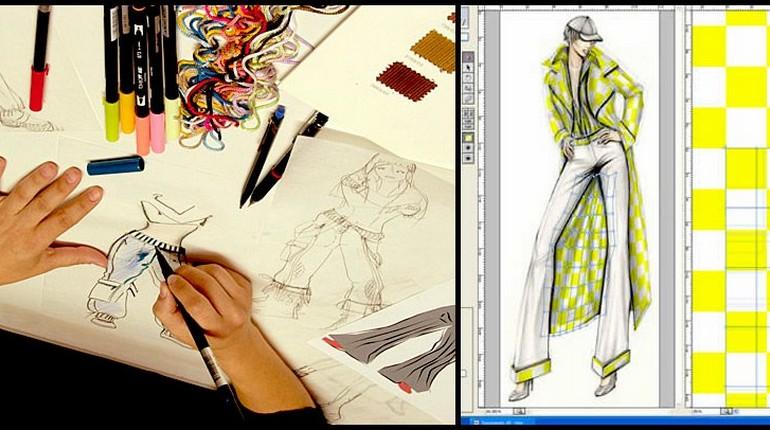 работа дизайнера, чертеж и раскрой