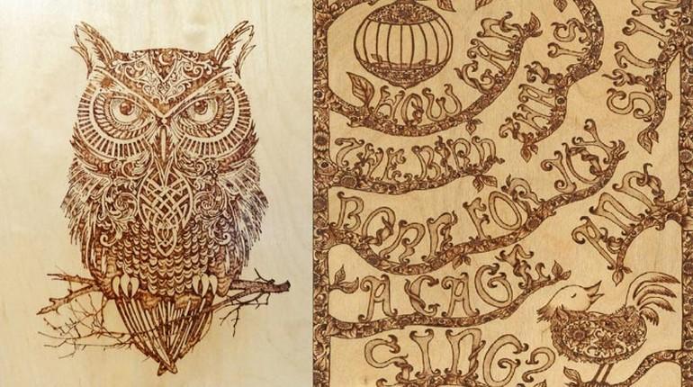 рисунок совы выжженный на дереве, изображение совы на доске