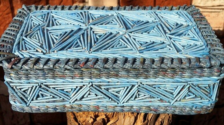 шкатулка из бумажных трубочек, голубая шкатулка