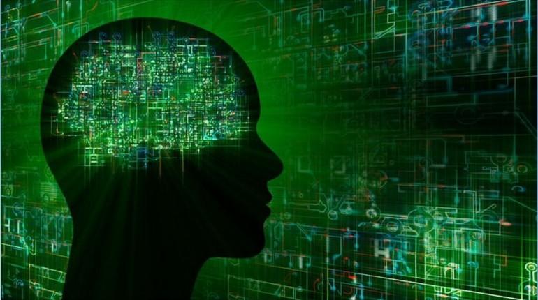изображение человеческой головы и мозга в виде микросхемы