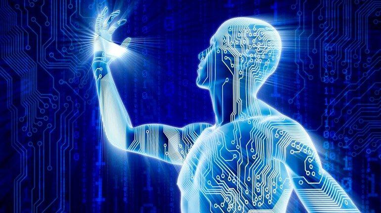 схема человеческих энергий, человек смотрит на свою руку