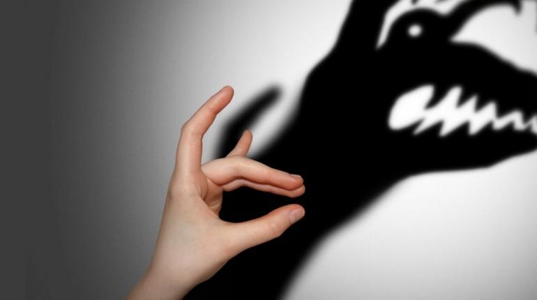 на стене тень от руки, козлик из руки и тень