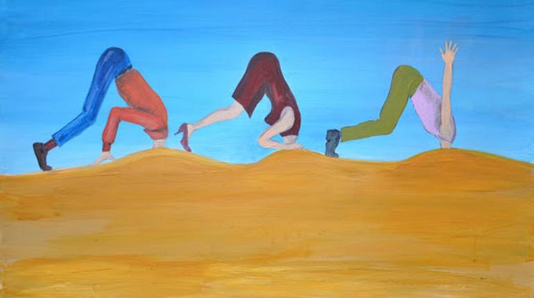 люди как страусы, зарыли головы в песок