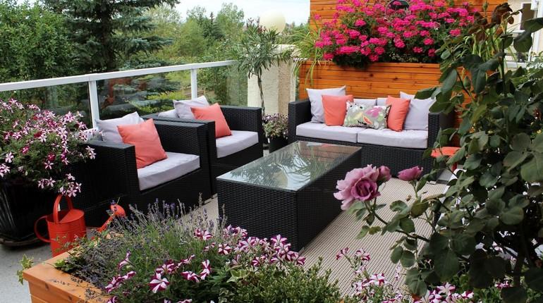 цветы и кресла на террасе