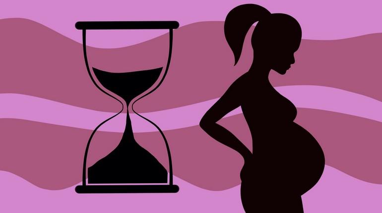 рисованные контуры беременной и песочных часов