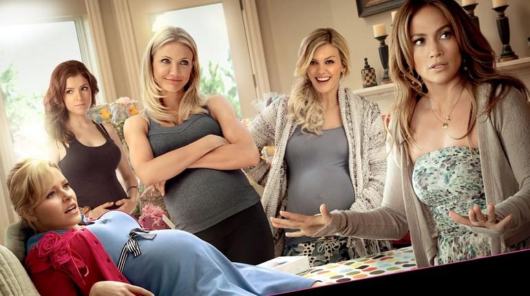 компания беременных девушек в комнате, кадр из фильма