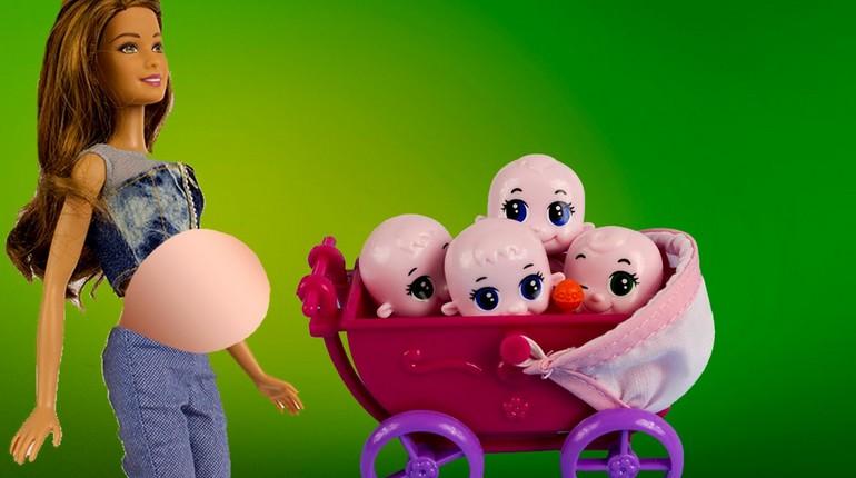 беременная кукла Барби с коляской