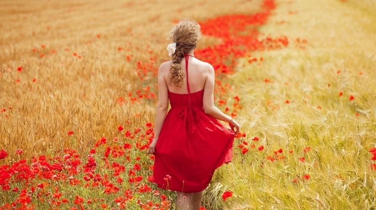 девушка с поле, девушка в красном платье
