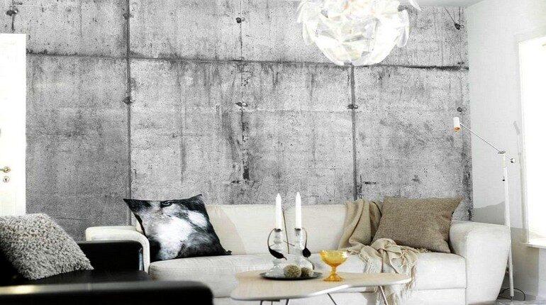 бетонная стена в интерьере, гостинная с бетонной стеной