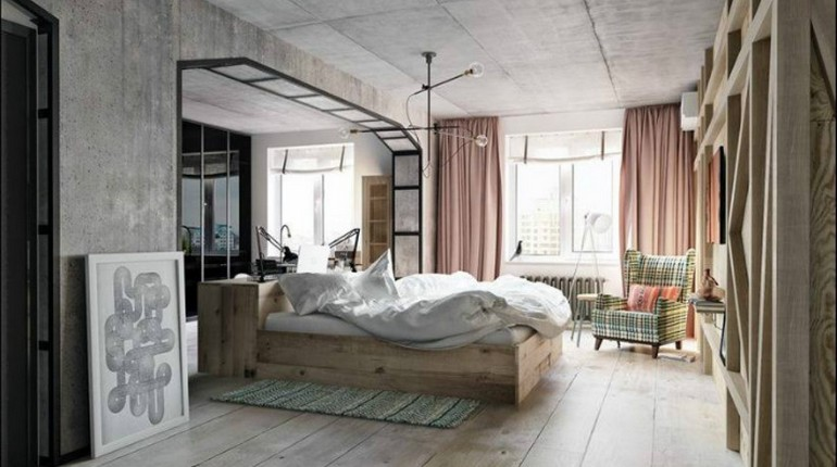 спальня в стиле лофт, бетон в интерьере спальни