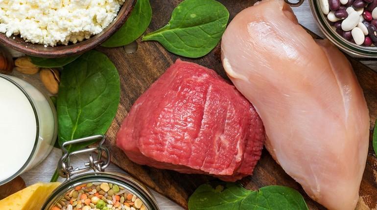 мясо и молоко, на картинке продукты питания