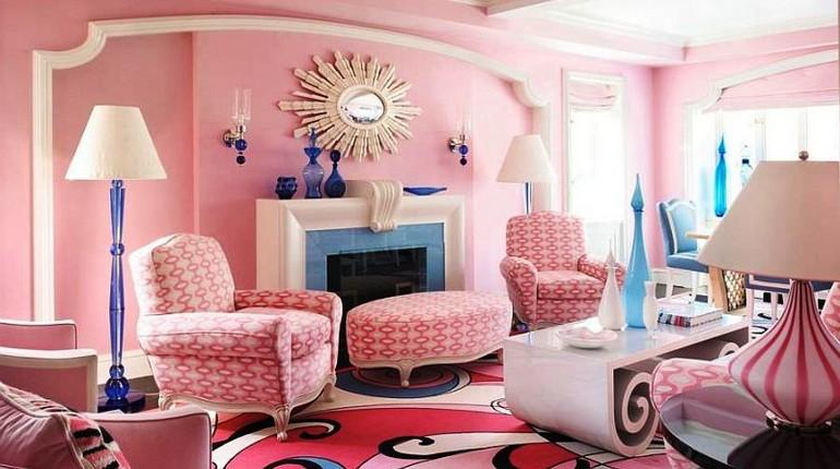 розова комната, интерьер розового цвета