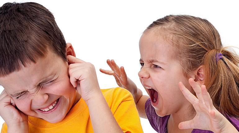 девочка кричит, мальчик заткнул уши, агрессия у детей