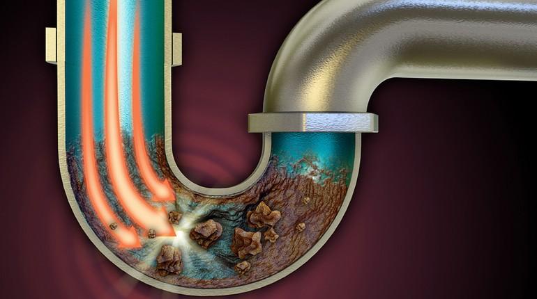 засор в трубе, канализационная труба
