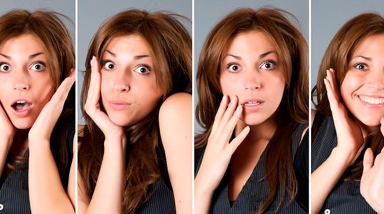 разные эмоции одной девушки, четыре разных эмоциональных состояния