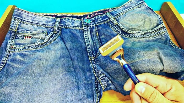 заточка бритвы при помощи обыкновенных джинсов