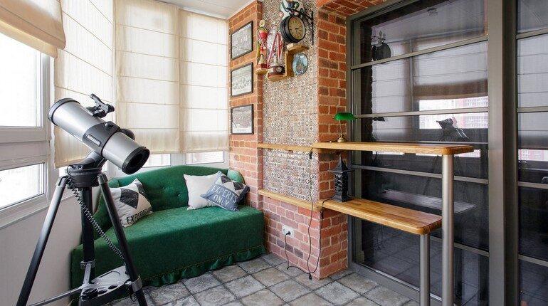 интерьер балкона, диванчик на балконе