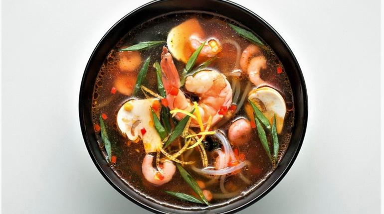 суп с креветками, суп из морепродуктов, вкусный суп, суп в пиале