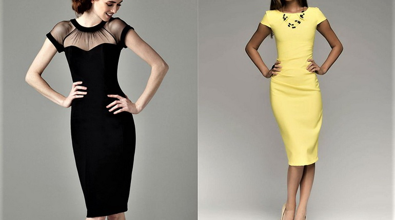 платье-футляр желтое, черное платье-футляр, девушки в платьях футлярах