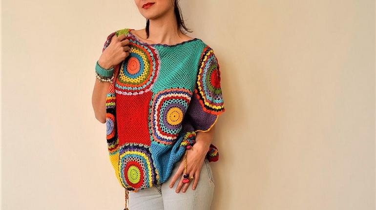 бабушкина кофта, разноцветная кофта, вязанная кофта