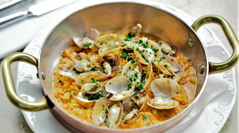 ризотто, блюда из риса, ризотто с морепродуктами