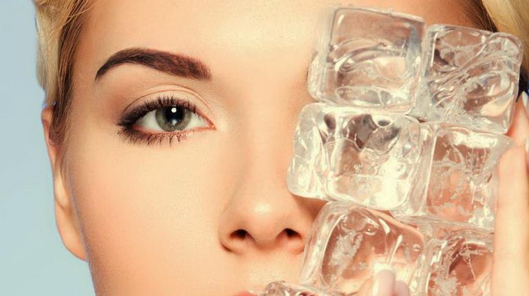 лёд для лица, девушка и лед, лицо и лед