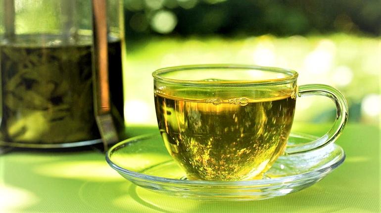 зеленый чай в чашке, чашка чая, заваренный зеленый чай