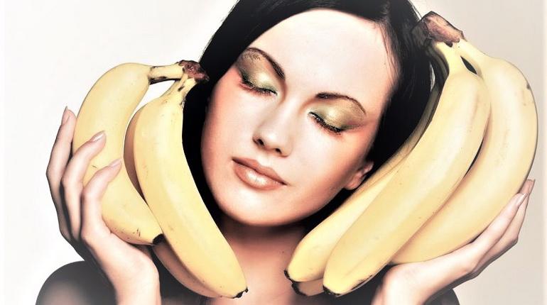 бананы и лицо, девушка с бананами