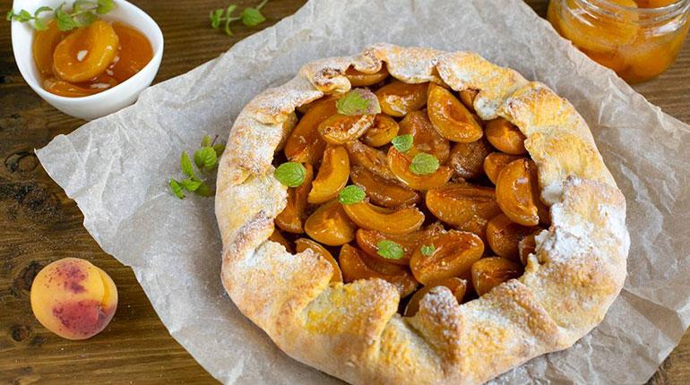 открытый пирог с абрикосами, домашняя выпечка