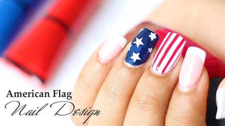 маникюр с американским флагом