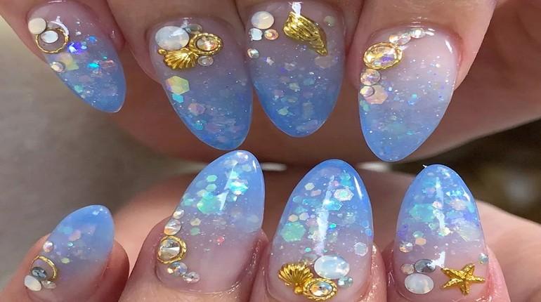 аквариумный маникюр, ногти с дизайном