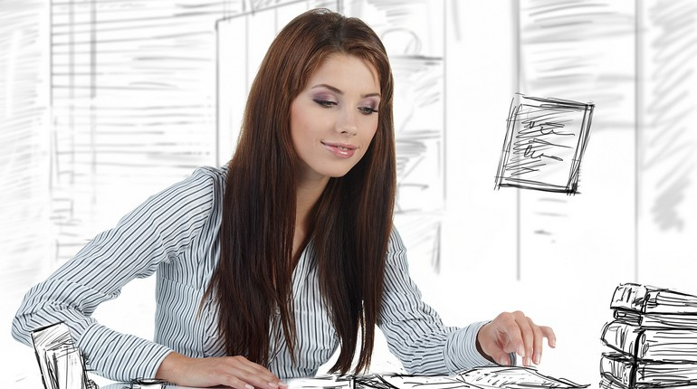 девушка в офисе, работа в офисе, девушка на работе