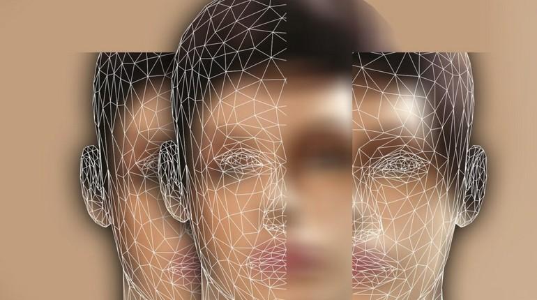 абстрактная картинка, размытое лицо парня и еще два отражения