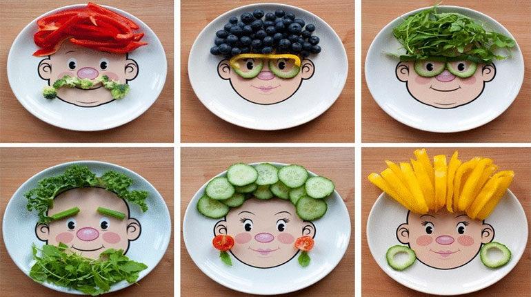 тарелки с картинками и овощами для детей, смешные рожицы на тарелках