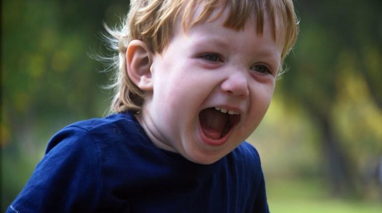 мальчик кричит, у ребенка эмоции