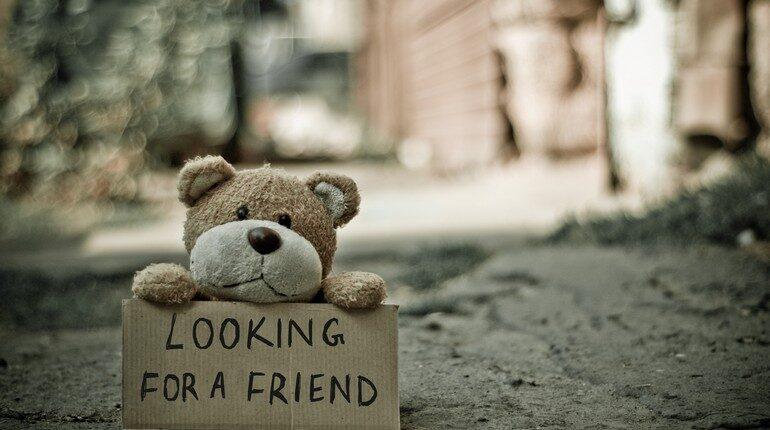 игрушечный мишка на улице, плюшевый мишка ищет друзей