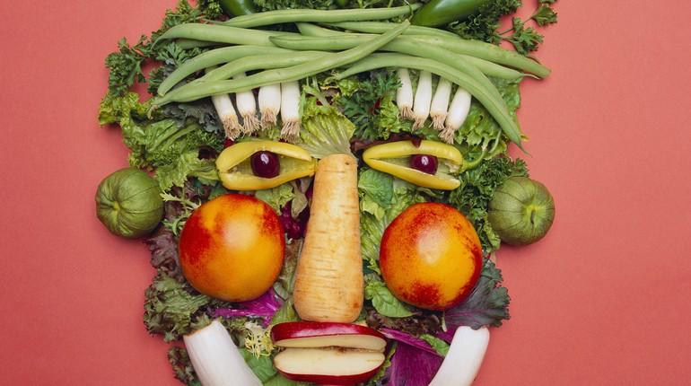 вегеторианство, лицо выложенное из овощей