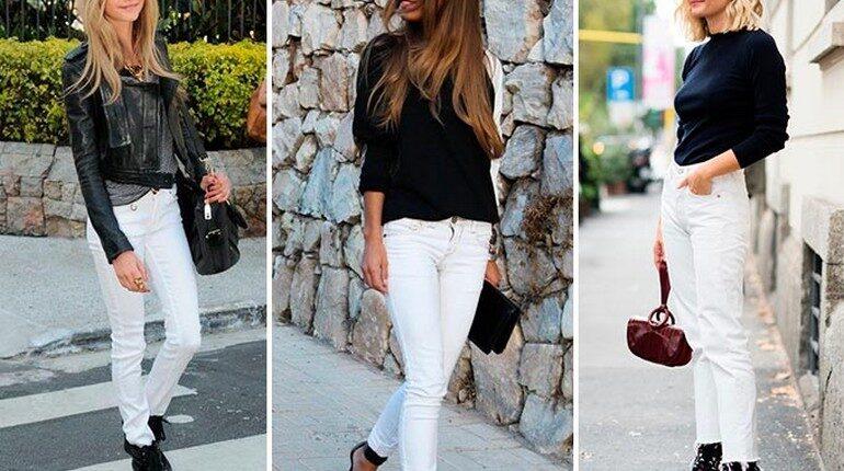 девушки в белых брюках, черный верх и белый низ