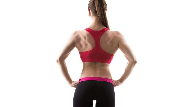 накачанная спина у девушки, девушка стоит спиной в спортивной одежде