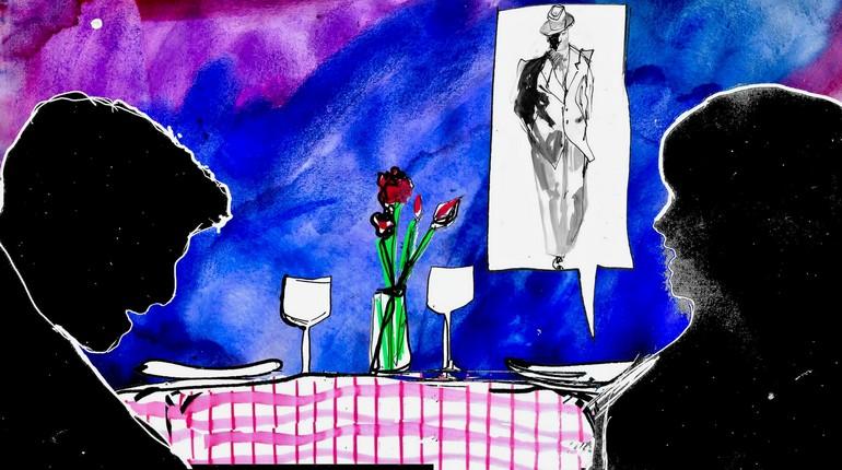 сцена в ресторане, ревность к бывшему