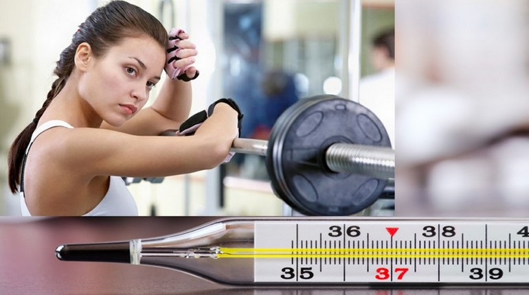 девушка со штангой и градусник, температура тела и физические нагрузки, тренировки с температурой