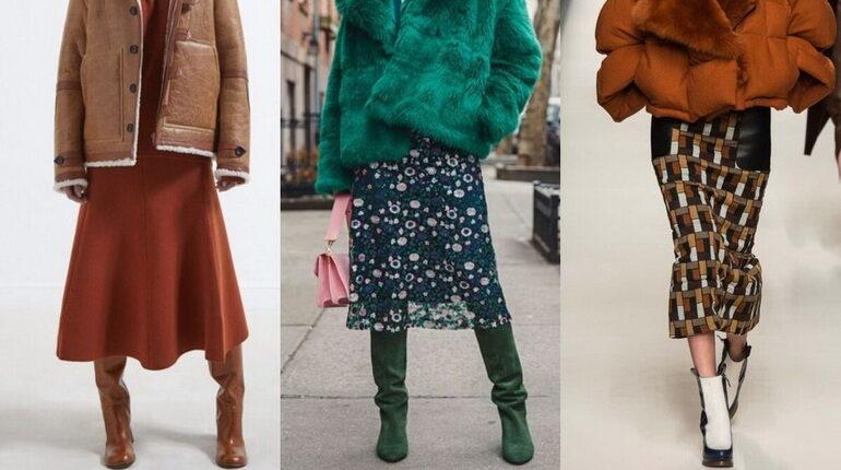 цветные юбки зимой, юбка и шуба